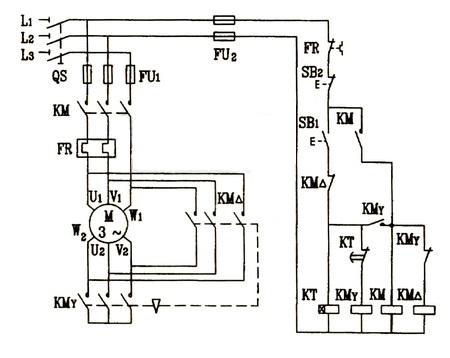 星三角降压启动原理图 星三角降压启动接线图2.png